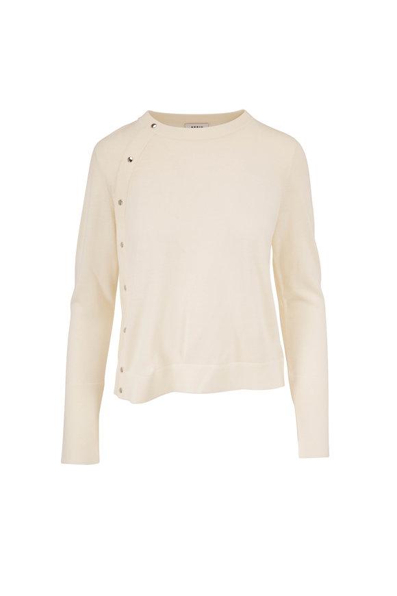 Akris Punto Cream Wool Asymmetric Snap Sweater