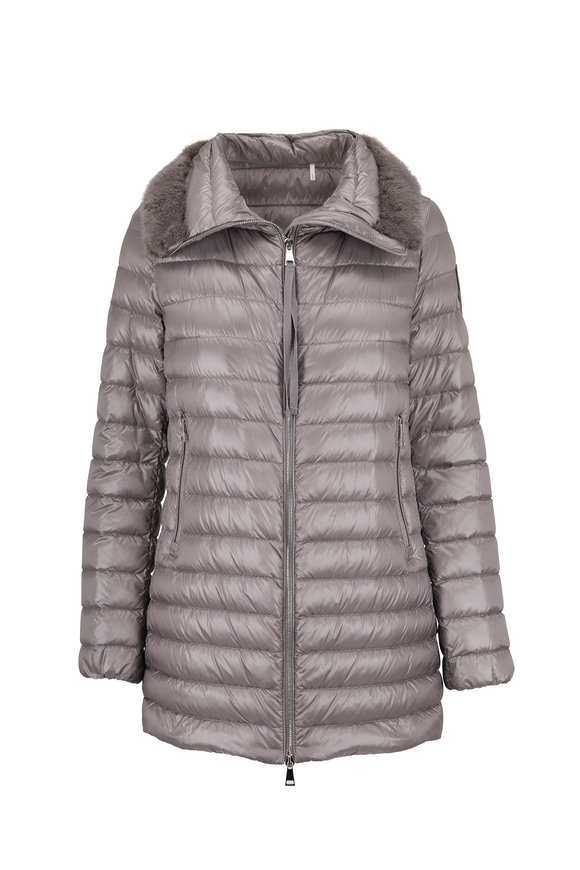 Moncler Silver Fur Collar Long Puffer Jacket