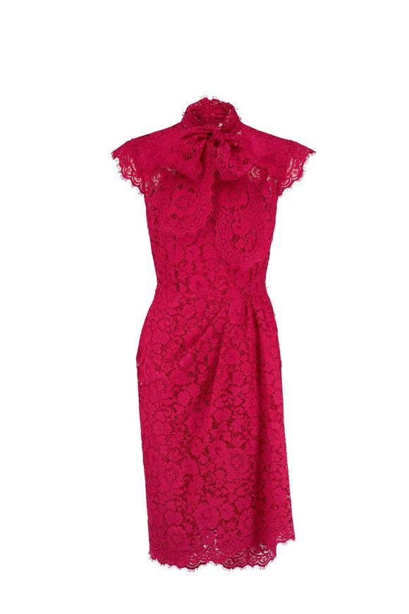 Dolce & Gabbana Shocking Rose Lace Cap Sleeve Dress