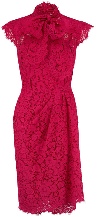Dolce & Gabbana Shocking Rose Lace Cap Sleeve Dress
