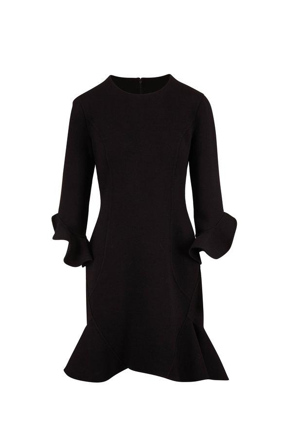 Michael Kors Collection Black Bouclé Flounce Hem Long Sleeve Dress