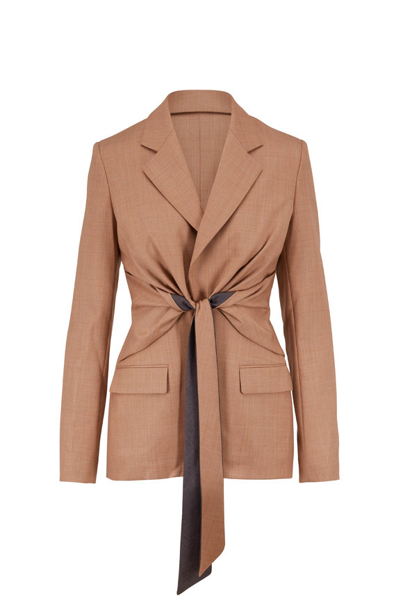 Gabriela Hearst Camel Wool Bi-Color Self-Tie Belt Blazer