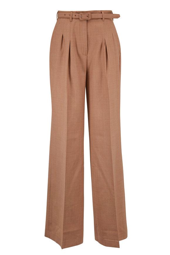 Gabriela Hearst Camel Wool Wide Leg Belted Pant