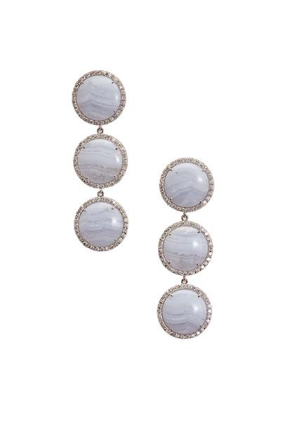 Kimberly McDonald - White Gold Triple Blue Lace Agate Diamond Earrings