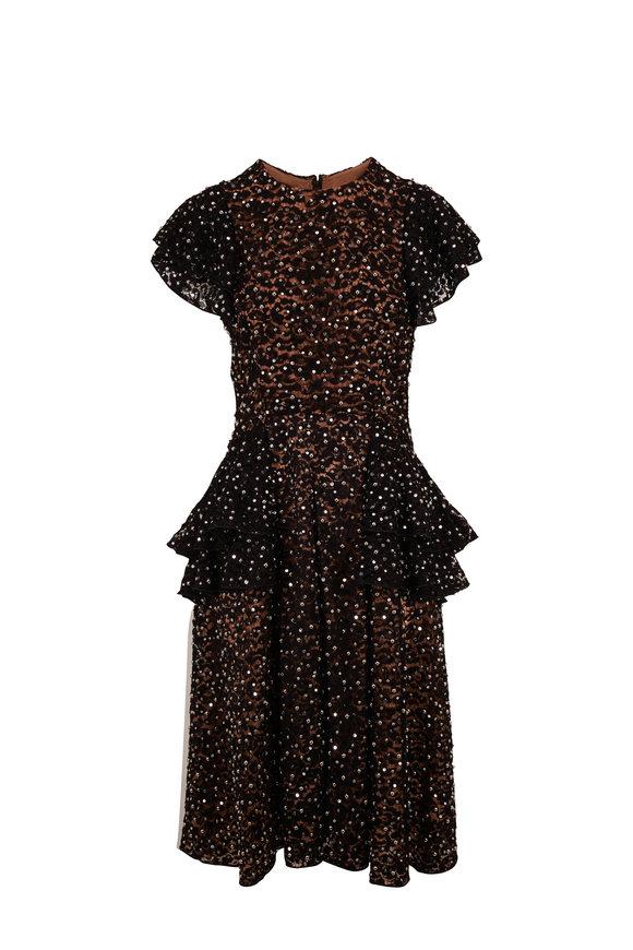 Michael Kors Collection Black Embellished Lace Flutter Sleeve Dress