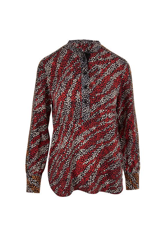 Rag & Bone Colette Black Multi Floral Print Silk Blouse