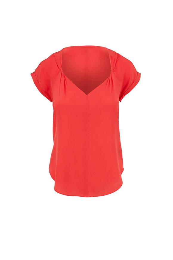 Rag & Bone Danise Bright Coral Silk Short Sleeve Top