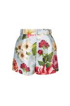 Dolce & Gabbana - Blue Shantung Floral Printed High-Rise Shorts