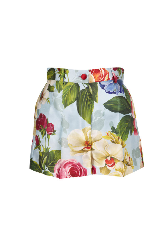 Blue Shantung Floral Printed High-Rise Shorts