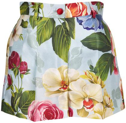 Dolce & Gabbana Blue Shantung Floral Printed High-Rise Shorts
