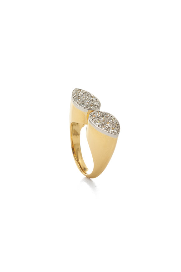 David Webb 18K Yellow Gold & Silver Ellipse Cocktail Ring