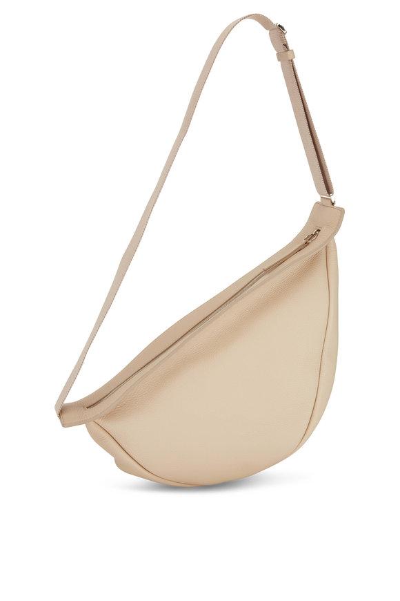 The Row Cream Silk Grained Leather Banana Slouchy Bag