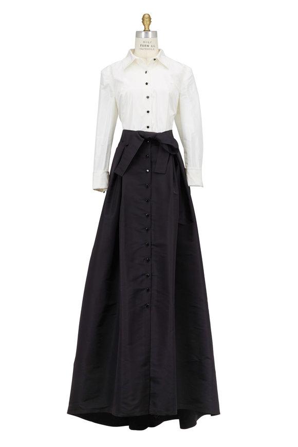Carolina Herrera Black & Ivory Silk Trench Dress