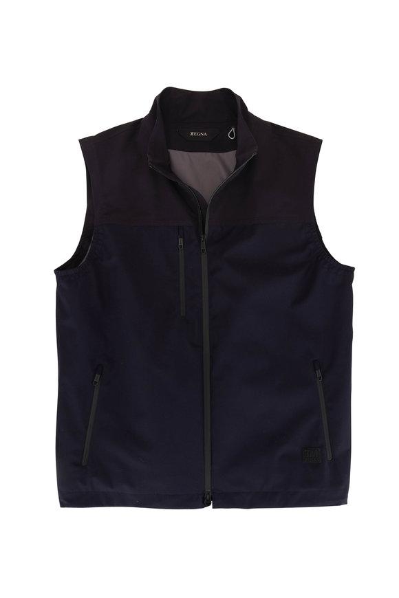 Z Zegna Navy Tech Merino Front Zip Vest