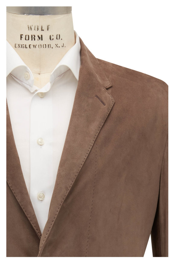 Ermenegildo Zegna Tan Suede Two Button Blazer