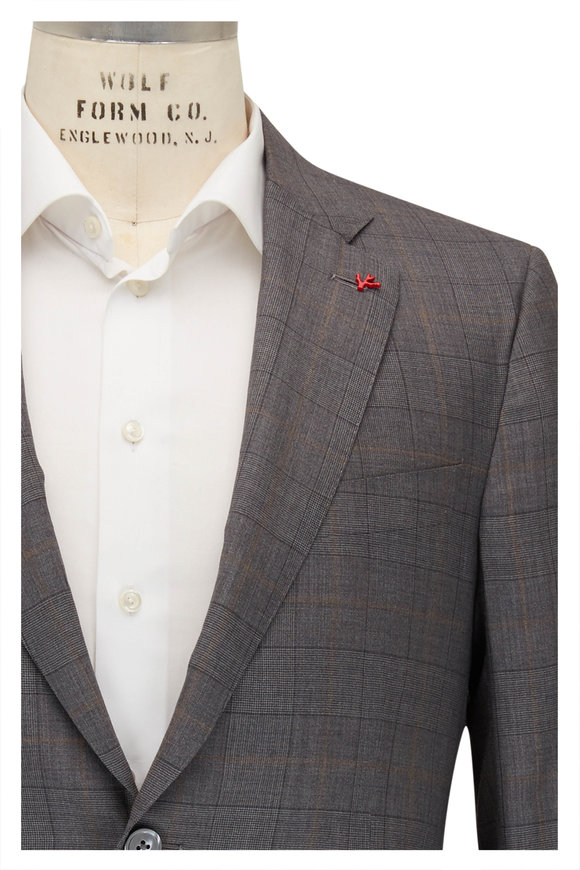 Isaia Gray & Gold Plaid Wool & Silk Suit