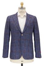 Isaia - Brown & Blue Plaid Cotton & Silk Sportcoat