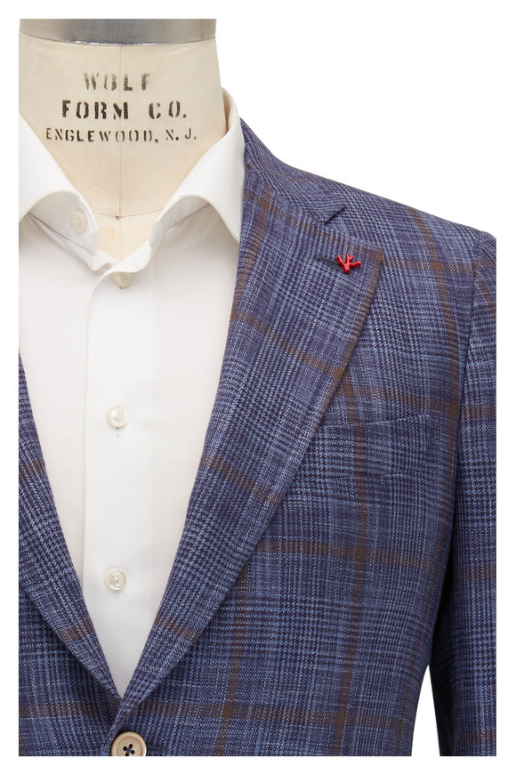 Isaia Brown & Blue Plaid Cotton & Silk Sportcoat