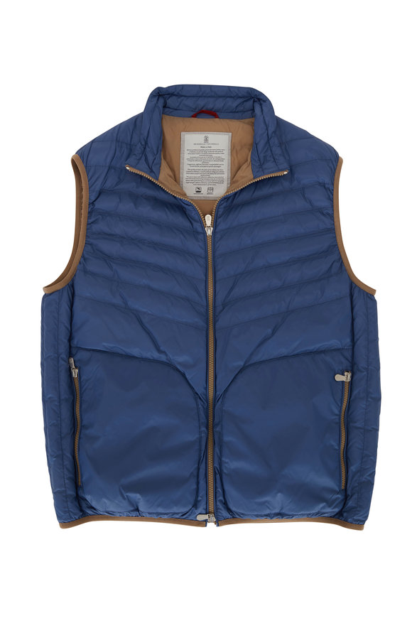 Brunello Cucinelli Blue Water Repellent Front Zip Puffer Vest