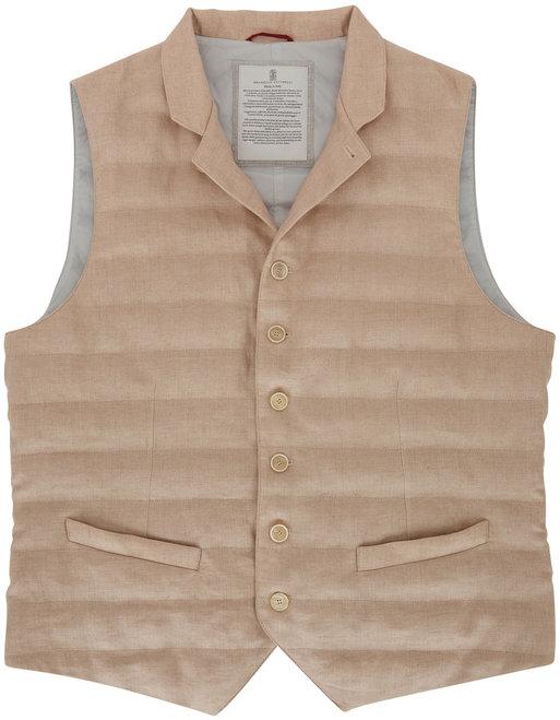 Brunello Cucinelli Light Brown Linen Quilted Button Front Vest