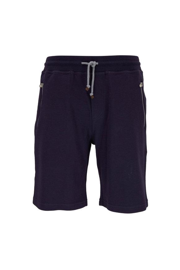 Brunello Cucinelli Navy Blue Cotton Drawstring Lounge Shorts