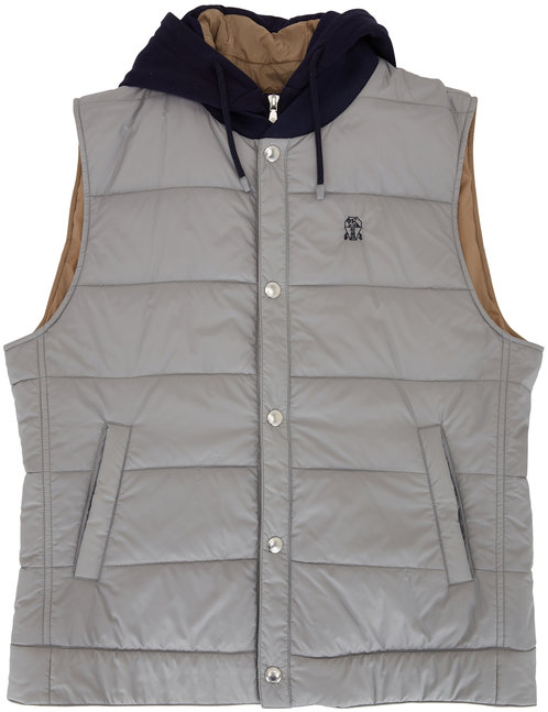 Brunello Cucinelli Grey Padded Hooded Vest