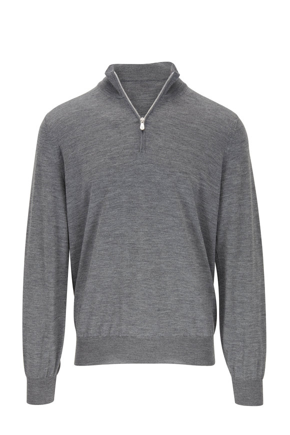 Brunello Cucinelli Medium Gray Wool & Cashmere Quarter-Zip Pullover