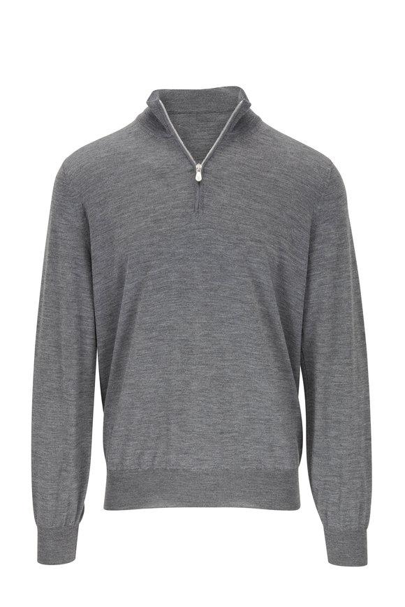Brunello Cucinelli Medium Gray Wool & Cashmere Quarter-Zip Pullover