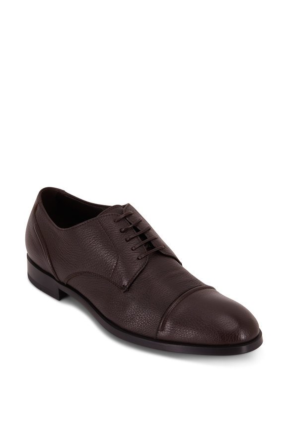 Ermenegildo Zegna Siena Flex Dark Brown Deerskin Cap-Toe Derby Shoe