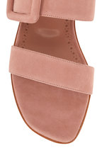 Manolo Blahnik - Titubaflat Pink Suede Two-Band Buckle Slide