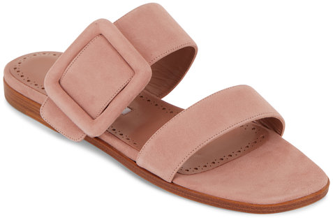 Manolo Blahnik Titubaflat Pink Suede Two-Band Buckle Slide