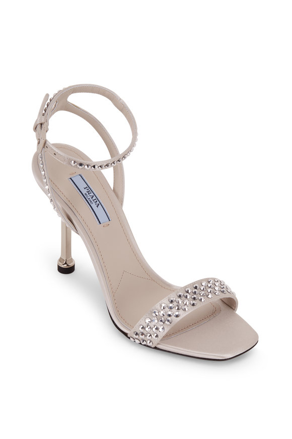 Prada Silver Satin Crystal Embellished Sandal, 90mm
