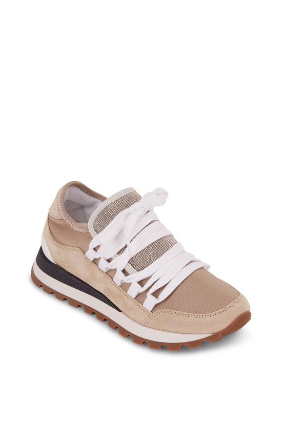 Brunello Cucinelli Gold Suede & Metallic Jersey Monili Sneaker