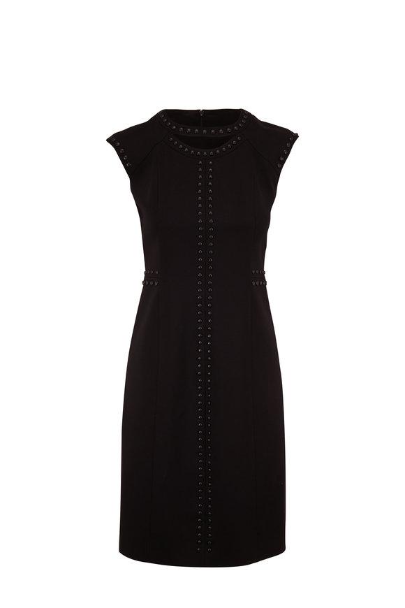Akris Punto Black Stud Detail Cap-Sleeve Shift Dress