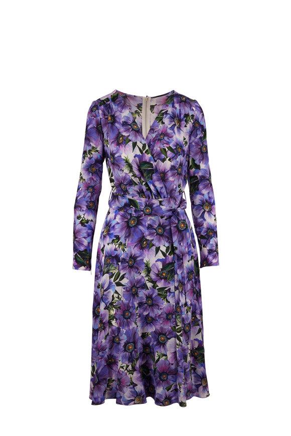 Dolce & Gabbana Purple Anemone Crepe De Chine Long Sleeve Dress