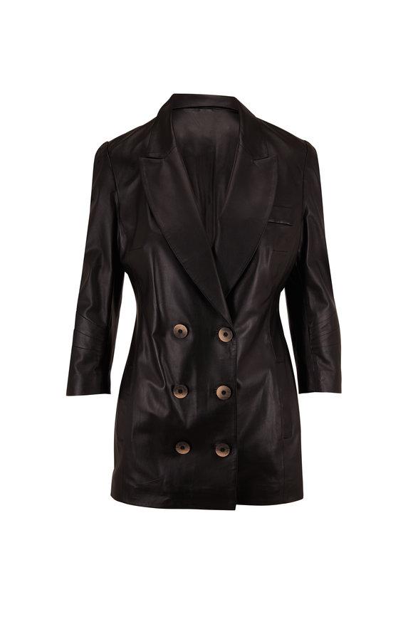 Zeynep Arcay Black Leather Double-Breasted Jacket
