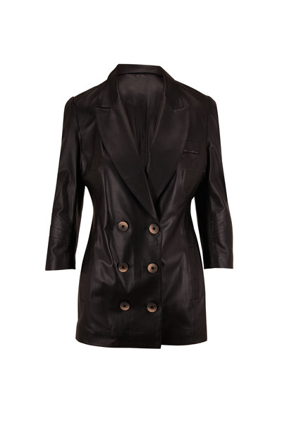 Zeynep Arcay - Black Leather Double-Breasted Jacket
