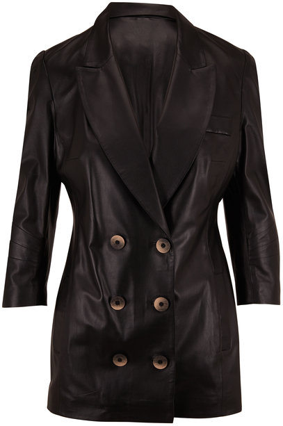 Zeynep Arcay Black Leather Double-Breasted Jacket