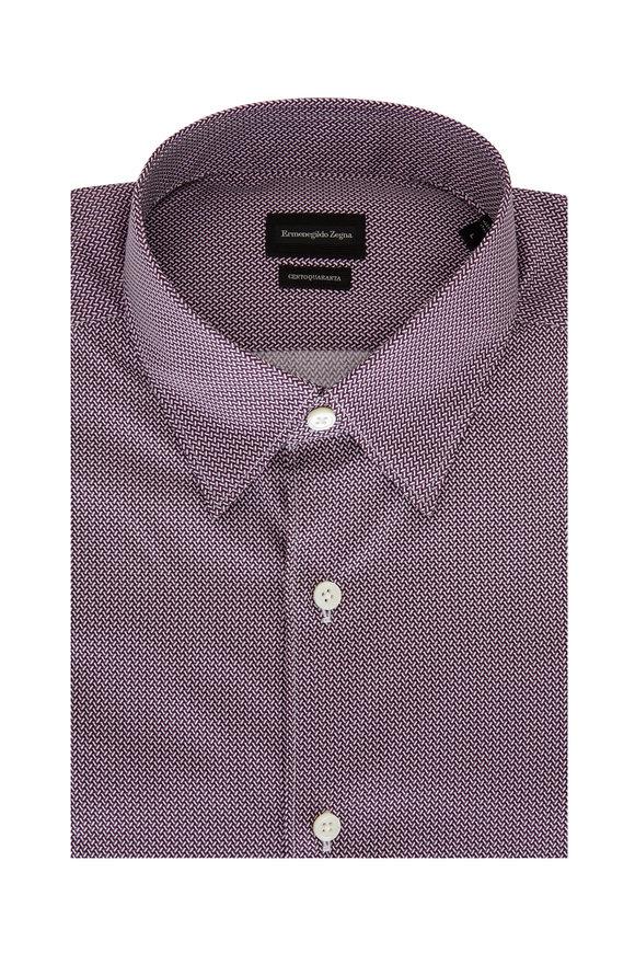 Ermenegildo Zegna Pink Geometric Print Sport Shirt