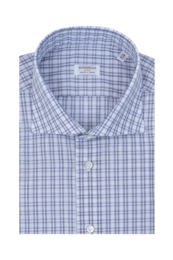 Borriello Blue & White Small Plaid Linen Blend Dress Shirt