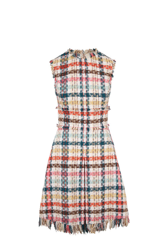 Oscar de la Renta Multicolor Tweed Sleeveless Fit & Flare Dress