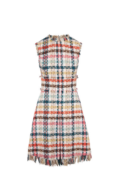 Oscar de la Renta - Multicolor Tweed Sleeveless Fit & Flare Dress
