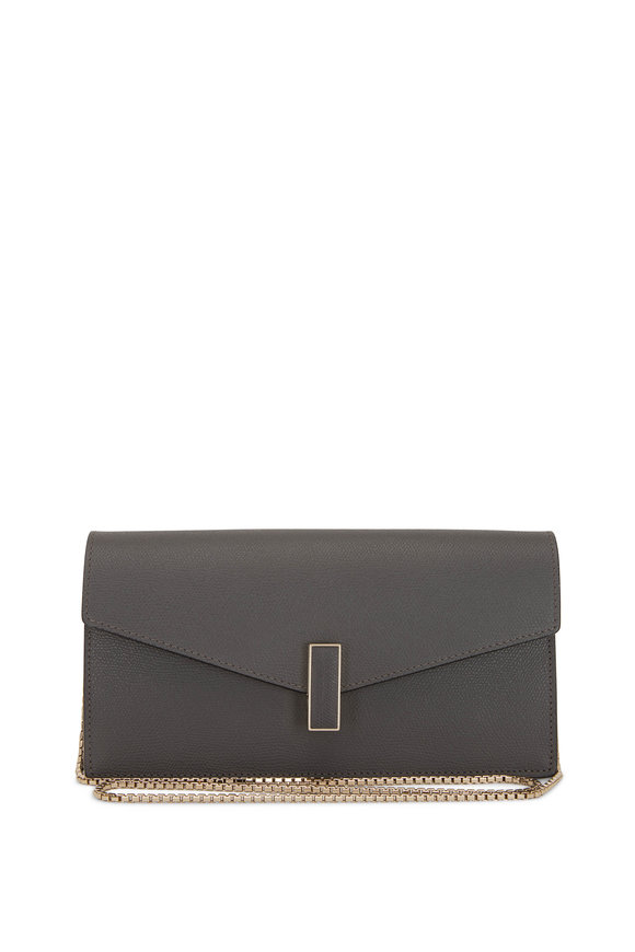 Valextra Iside Gray Saffiano Chain Clutch