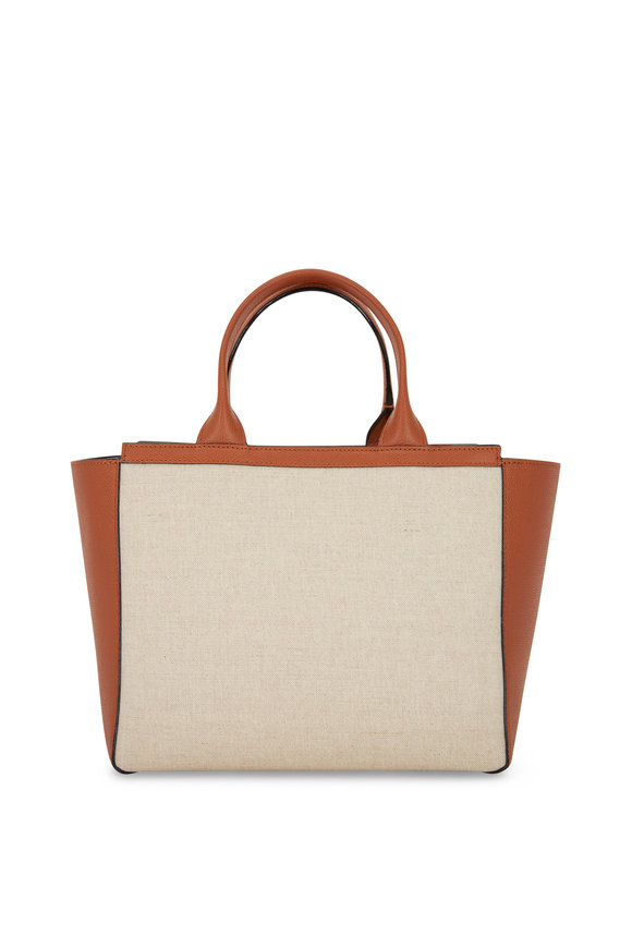 Valextra Natural Canvas & Leather Soft Mini Shopper
