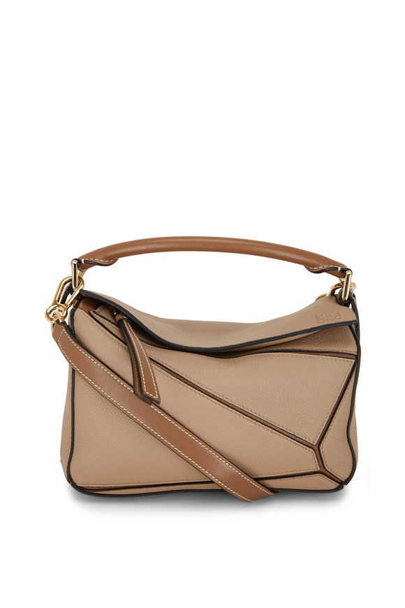 Loewe Puzzle Sand & Mink Leather Small Top Handle Bag
