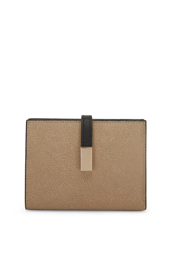 Valextra Oyster & Black Saffiano Portfolio Wallet