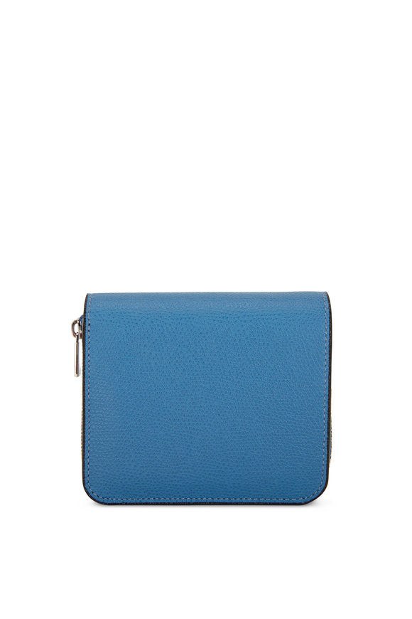 Valextra Cobalt Blue Saffiano Double Small Wallet