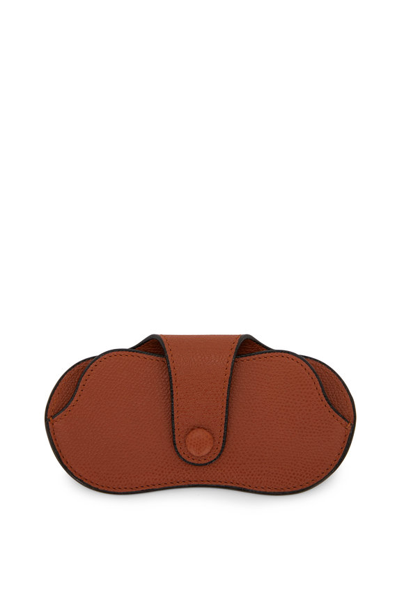 Valextra Golden Brown Saffiano Eyeglass Case