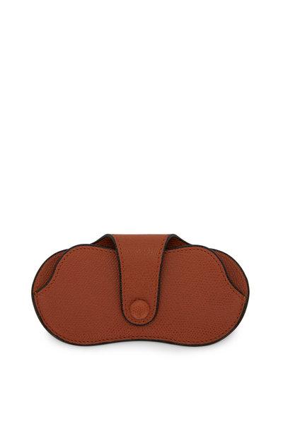 Valextra - Golden Brown Saffiano Eyeglass Case
