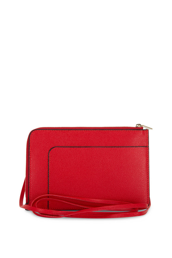 Valextra Rosso Red Saffiano Leather Zip Crossbody